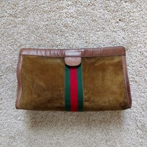 Large Brown Suede Gucci Clutch